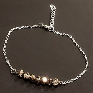Jewelry - Dainty Sparkly Silver Beaded Bar Anklet